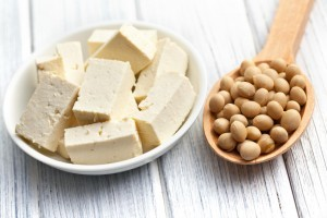 tofu and soy beans on kitchen table