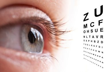 Close up of an eye and vision test chart. Protect eyes against vision loss