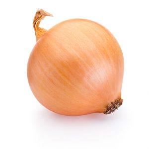 Ripe onion isolated on white background