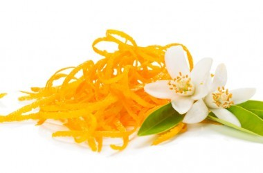 Fresh orange zest and twig af orange tree with flowers isolated on white background