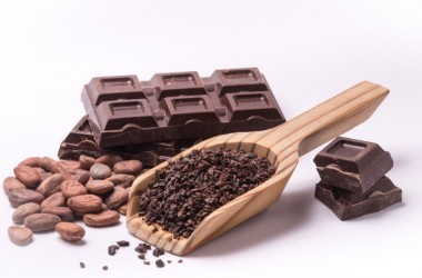 Different forms of chocolate including dark chocolate bar, cacao bean and nibs bring dark chocolate benefits