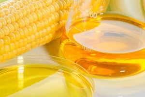 High fructose corn syrup and an ear of corn