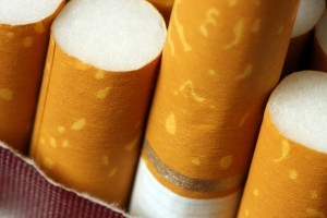 Close up of cigarettes in pack