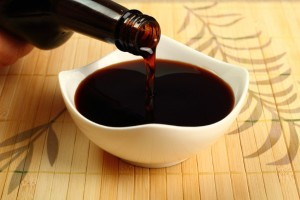 Pouring Soy Sauce into bowl