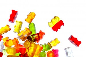 Colorful gummy bear candy on white background