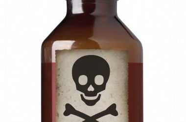 Old fashioned brown bottle of poison with skull and crossbones on it