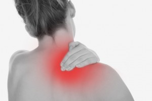 Neck pain illustration black and white picture woman holding neck