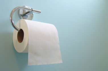 Toilet paper roll to illustrate constipation