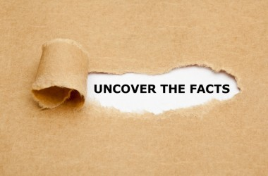 Uncover The Facts appearing behind torn brown paper to illustrate fake facts