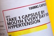Label on high blood pressure hypertension medication bottle
