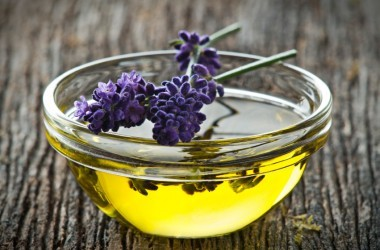 lavender and oil on wooden board are an effective home remedy