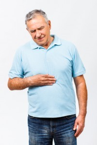 Man with a leaky gut has a stomachache