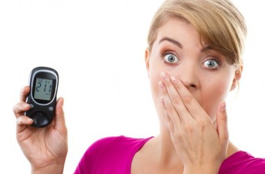 Woman holding glucometer shocked by blood sugar spike