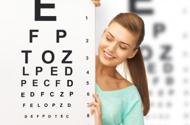 woman with eyechart happy she could improve eyesight