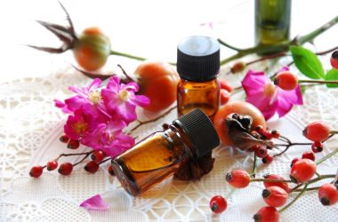 rosehips with rosehip essential oils