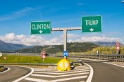 Clinton and Trump road signs