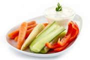 Fresh vegetables and cumin dill yogurt dip
