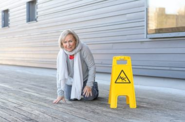 Senior woman lost her balance and fell