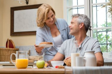 Mature couple eats breakfast to reduce hardening of the arteries risk