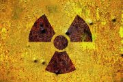 Rusty nuclear radiation sign warning of radioactivity