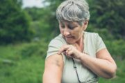 Senior woman with bruise on her arm