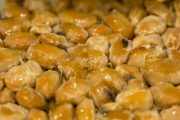 Close up of natto fermented soybeans which support blood flow