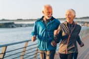 Senior couple running defying aging and memory loss