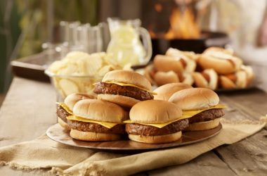 Hotdogs and hamburgers on additive laced rolls at a cookout
