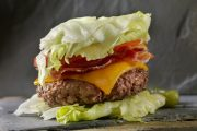 Low-carb lettuce wrapped bacon cheeseburger