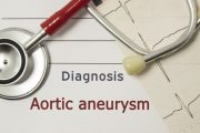 Illustration for aortic aneurysms an EKG paper with stethoscope on top