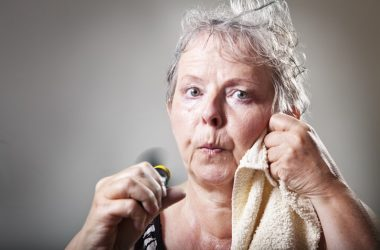 Senior woman having hot flashes