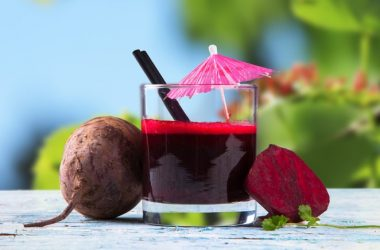 Glass of blood pressure supporting beet juice