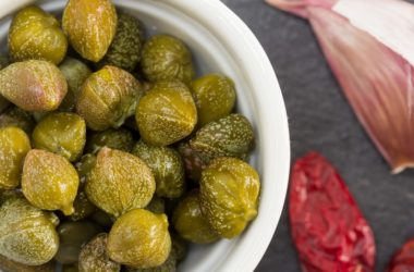 A bowl of blood pressure taming pickled capers